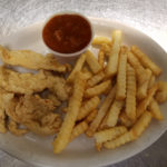 Emily's Chicken Strips with French Fries served with BBQ or Ranch